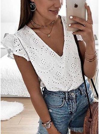 Solid V-Neck Short Sleeves Casual Elegant Knit Blouses