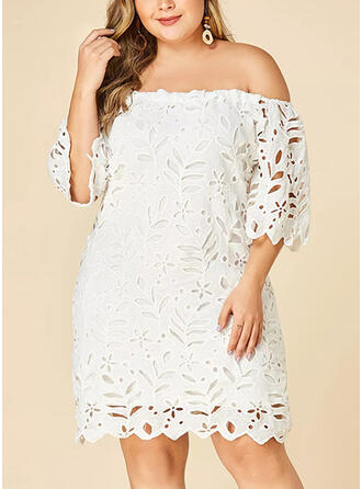 Lace/Solid 3/4 Sleeves Shift Knee Length Plus Size Dresses