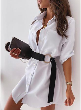 Sólido Mangas 3/4 Tendencia Sobre la Rodilla Casual Camisa Vestidos
