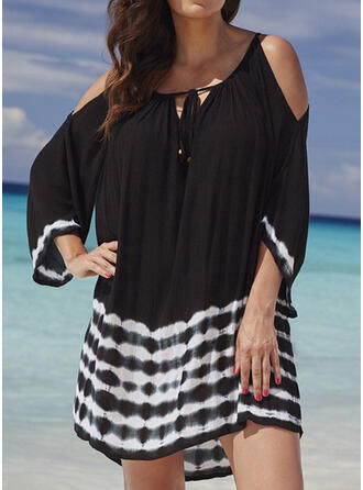 Plus Size Tie Dye 3/4 Sleeves Shift Above Knee Casual Vacation Dress