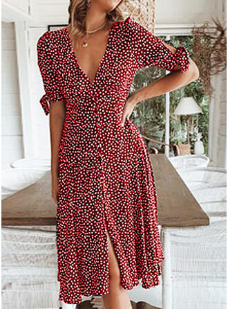 Print/PolkaDot 1/2 Sleeves A-line Knee Length Casual/Vacation Dresses