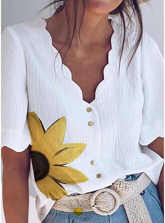 Sunflower Print V-Neck 1/2 Sleeves Button Up Casual Elegant Blouses