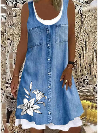 Estampado/Floral Jean Sem mangas Vestidos soltos Comprimento do joelho Casual Tanque Vestidos