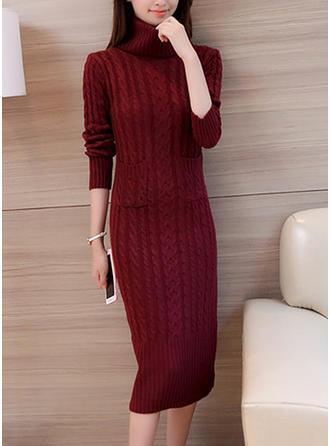 Golf Jednolity kolor Sukienka sweterkowa