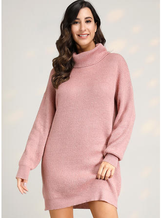 Solid Kabel-strik Chunky strik Turtleneck Sweaterkjole