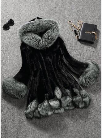 Sztuczne Futro Długie rękawy Jednolity kolor Mieszanki Płaszcze