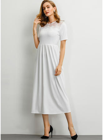 Lace/Solid Short Sleeves A-line Midi Casual/Elegant Dresses