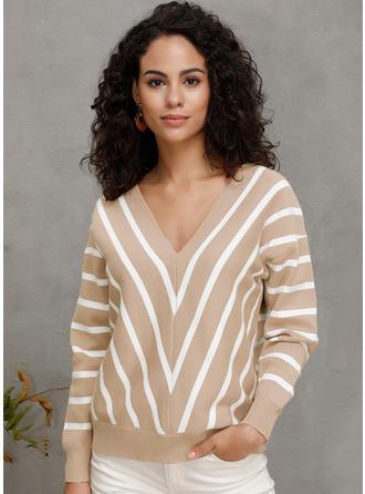 Striped Chunky knit V neck Sweaters