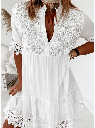 Lace/Solid 1/2 Sleeves Shift Above Knee Casual/Vacation Dresses
