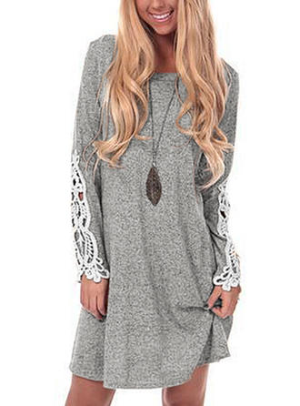 Solid Round Neck Sweater Dress
