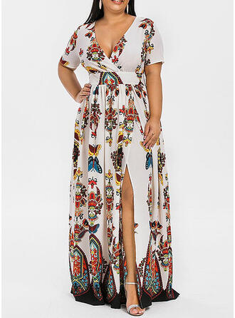 Plus Size Floral Print Short Sleeves A-line Maxi Boho Party Vacation Dress