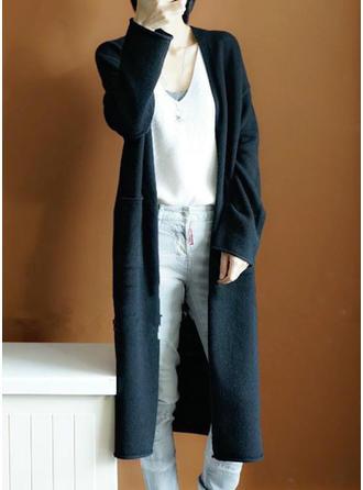 Wełniany Długie rękawy Jednolity kolor Kardigany