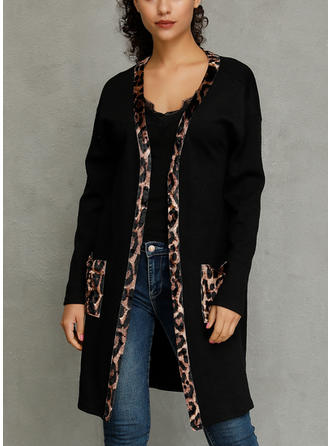 Polyester Long Sleeves Plain Animal Print Wide-Waisted Coats