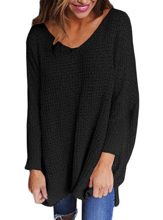 Solid Chunky knit V neck Sweater Dress