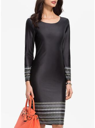 Print Long Sleeves Sheath Knee Length Party/Elegant Dresses