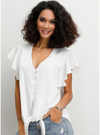 Solid V Neck Short Sleeves Button Up Casual Elegant Blouses