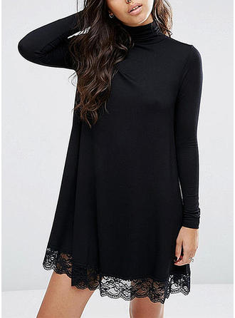 Lace Solid High Neck Above Knee Shift Dress