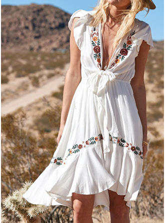 Embroidery Short Sleeves A-line Knee Length Party/Vacation Dresses