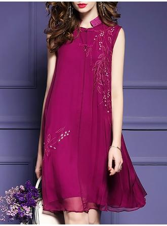 Embroidery Mandarin Collar Above Knee A-line Dress