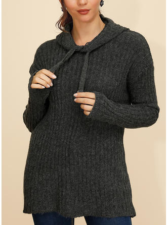 Solid Ribbed Chunky knit Hooded Sweaters