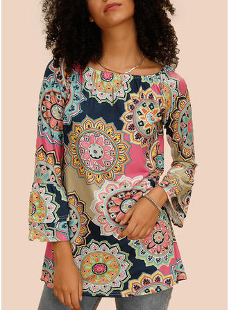 Print Floral Round Neck Flare Sleeve Long Sleeves Casual T-shirts
