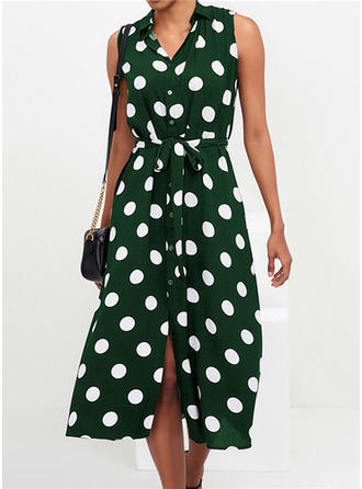 PolkaDot Sleeveless A-line Midi Casual Dresses