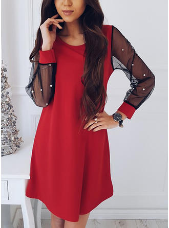 Solid Long Sleeves Shift Above Knee Vintage/Little Black/Casual Dresses