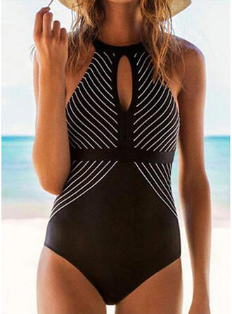 Stripe Keyhole Round Neck High Neck Sexy Classic One-piece Swimsuits