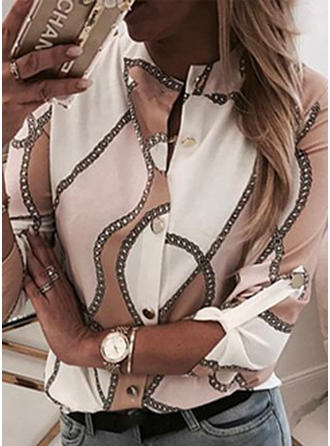 Print V neck Long Sleeves Button Up Shirt Blouses