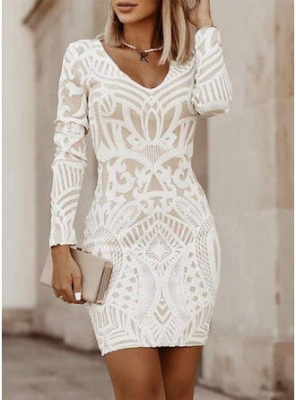 Print Long Sleeves Bodycon Above Knee Little Black/Casual/Elegant Dresses