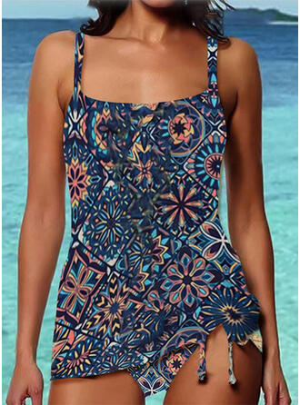 Splice color Strap U-Neck Vintage Boho Tankinis Swimsuits