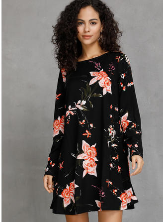 Floral/Plaid Long Sleeves Shift Knee Length Casual Dresses