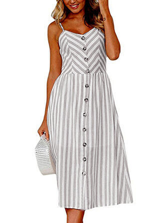 Striped Sleeveless A-line Casual/Vacation Midi Dresses