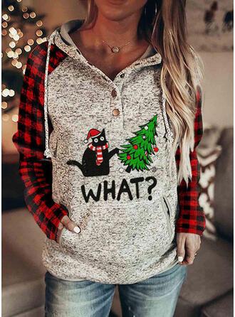 Dyr Grid Figur Lommer Lange ærmer Jule sweatshirt