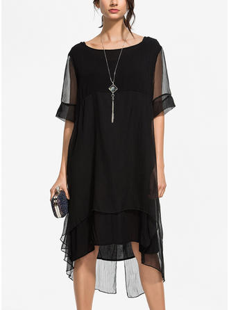 Solid Short Sleeves Shift Knee Length Little Black/Casual/Elegant Dresses