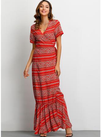 Print Short Sleeves Sheath Maxi Casual/Boho/Vacation Dresses