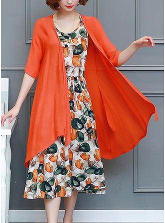 Print Round Neck Midi A-line Dress (Two Pieces)