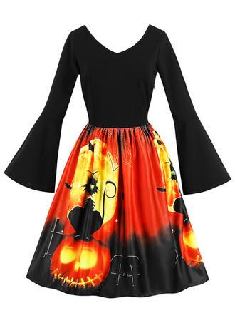 Wydrukować Litera V Maxi Sukienka Trapezowa
