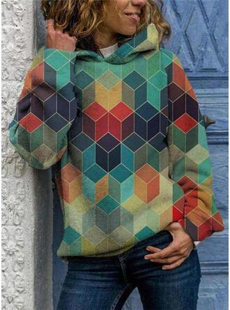 Geometrisk Lange ærmer Hoodie