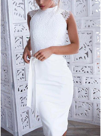 Lace Sleeveless Bodycon Knee Length Dresses