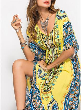 Print 1/2 Sleeves Sheath Casual/Boho/Vacation Maxi Dresses