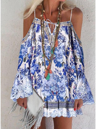 Print/Floral Long Sleeves/Flare Sleeves/Cold Shoulder Sleeve Shift Above Knee Casual/Vacation Dresses