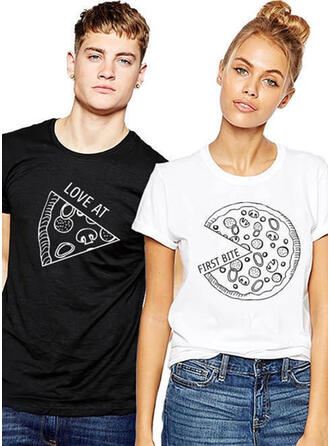 His and Hers Print Matching Couple T-Shirts
