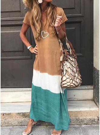 Print/Color Block Short Sleeves Shift Casual Maxi Dresses