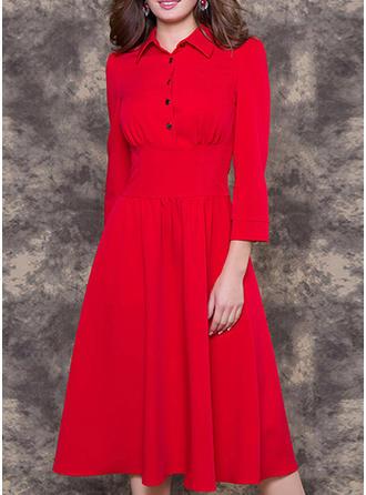 Solid Shirt collar Midi A-line Dress