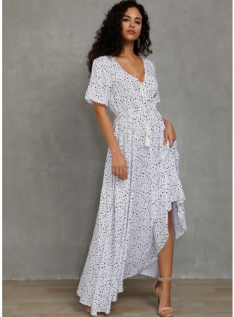 PolkaDot Short Sleeves A-line Casual/Party/Vacation Maxi Dresses