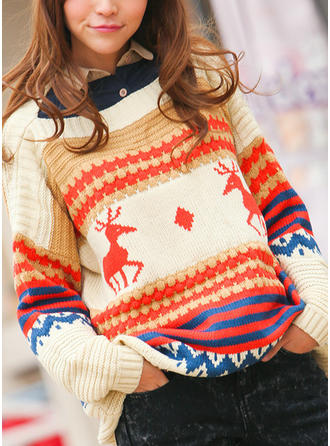 Cotton Blends Round Neck Graphic Ugly Christmas Sweater