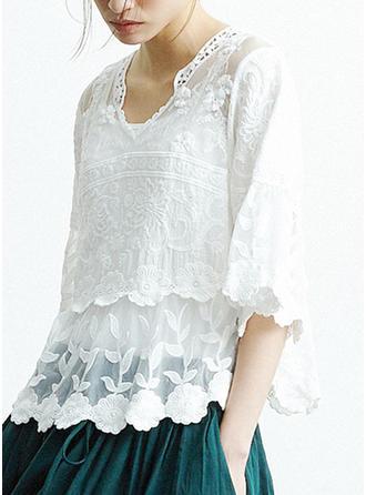 Baumwolle V-Ausschnitt Geometrisch Flare Sleeve 1/2 Ärmel Kurzärmel Blusen