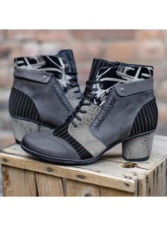 Vrouwen PU Chunky Heel Laarzen met Vastrijgen Floral Print schoenen