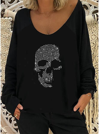 Impresión Cuello Redondo Manga Larga Camisetas
